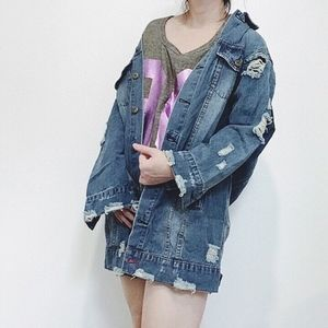 SmilingBear Jackets & Coats - NWT Oversized LONG distressed denim jacket